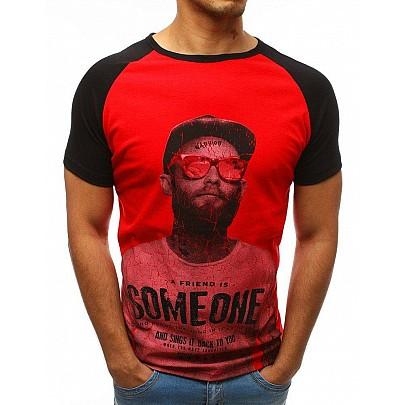 Férfi egyszerű piros póló nyomtatással rx3517