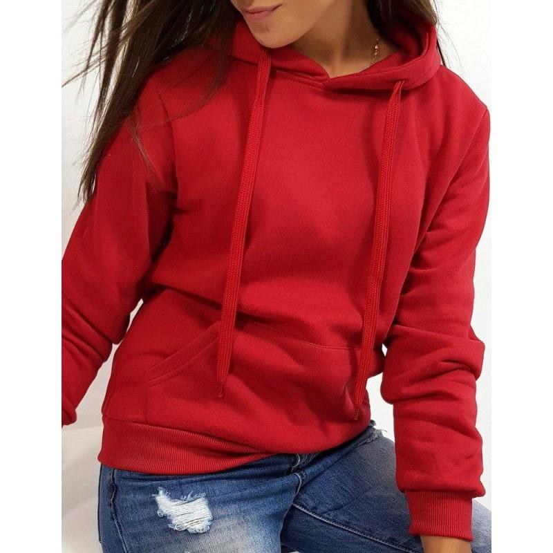 Női pulóver bordó színben kapucnival by0157   Bellago.hu