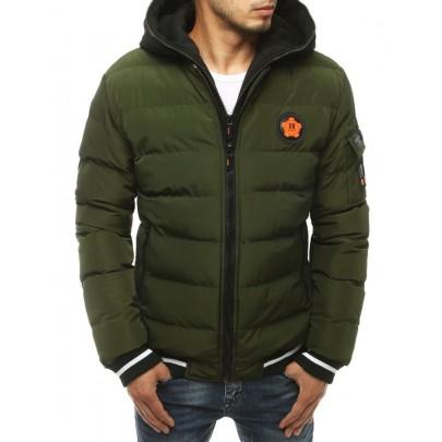 Téli férfi steppelt zöld kabát vtx3431