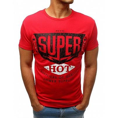 Piros férfi egyszerű póló felirattal rx3521
