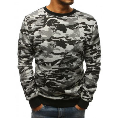 Terepmintás férfi pulóver - szürke bx3678