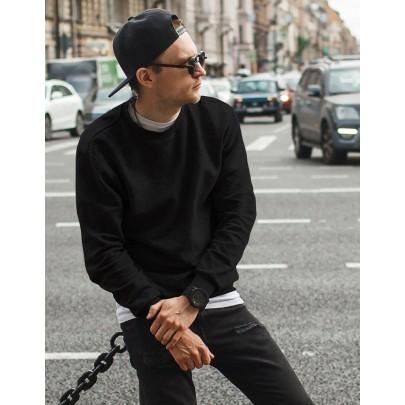 Férfi fekete pulóver kapucni nélkül bx4192