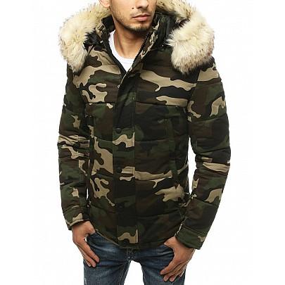 Férfi zöld téli terepmintás kabát vtx3477