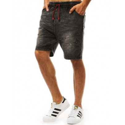 Fekete attraktív férfi farmer rövidnadrág sx0992