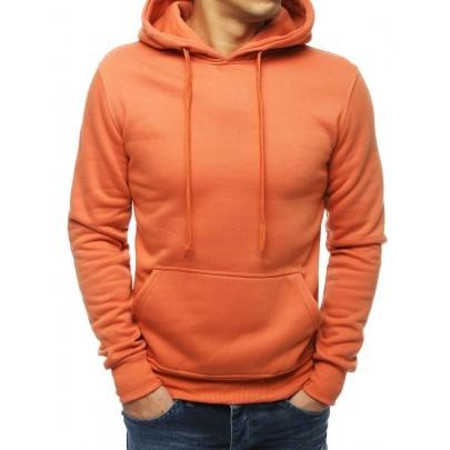 Egyszerű lazac színű férfi pulóver kapucnival bx4245