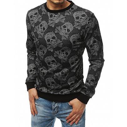 Férfi érdekes fekete pulóver nyomtatással bx4471
