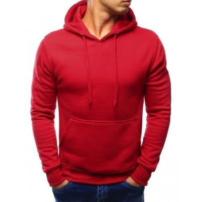 Egyszerű piros férfi pulóver kapucnival vbx3020