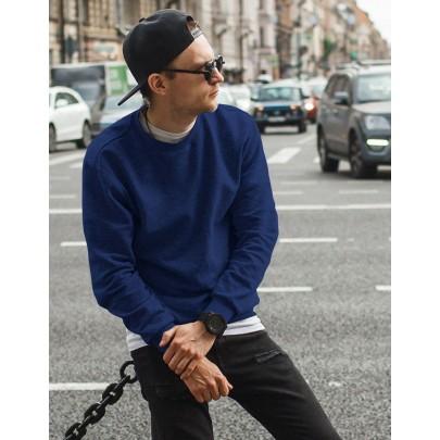 Sötét kék férfi pulóver kapucni nélkül bx4196