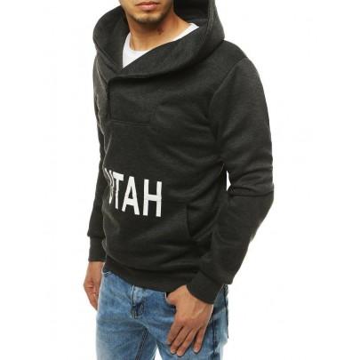 Férfi fekete-szürke pulóver UTAH felirattal bx4530