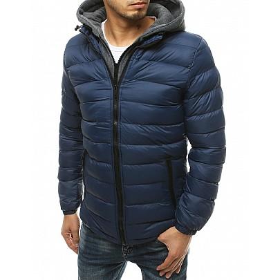Kék átmeneti férfi kabát kapucnival vtx3542