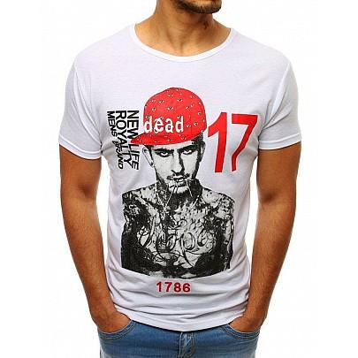 Fehér egyedi férfi póló nyomtatással vrx3513