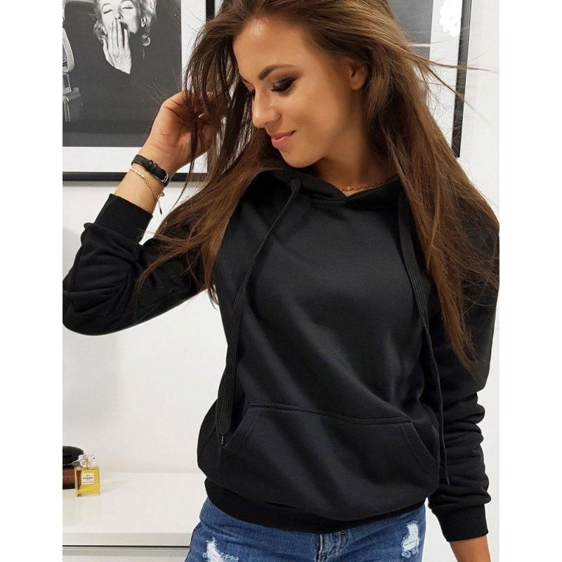 Női pulóver fekete színben kapucnival by0158   Bellago.hu
