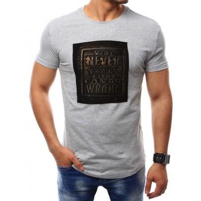 Érdekes szürke férfi póló felirattal vrx2409