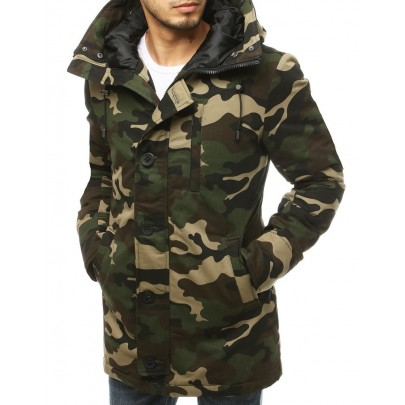 Zöld férfi téli terepmintás kabát tx3476