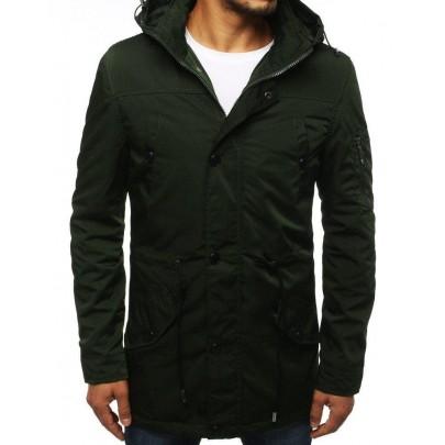 Átmeneti zöld férfi kabát kapucnival tx2884