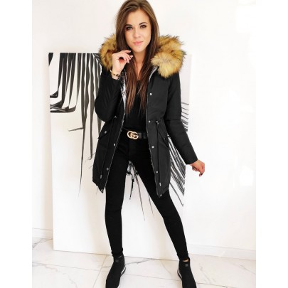 Téli kétoldalas fekete női parka kabát ty1467