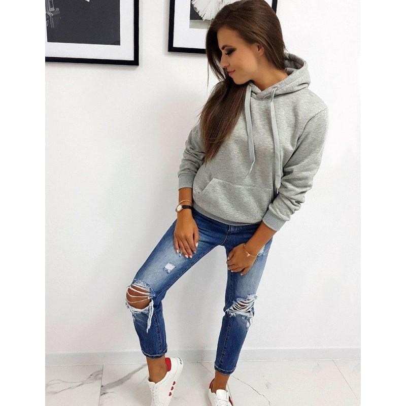 Női pulóver szürke színben kapucnival by0155   Bellago.hu